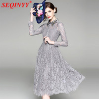 Grey Vintage Lace Dress 2018 Summer High End Long Sleeve Luxury Turn Down Beadings Lace Hollow