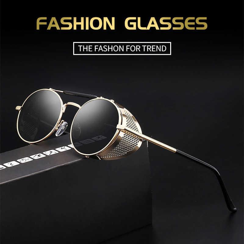 ce641f4cb28 Retro Round Metal Sunglasses Steampunk Men Women Fashion Glasses Brand  Designer Retro Vintage Sunglasses Oculos De