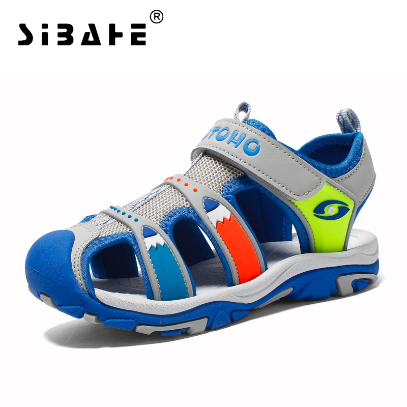 Boys Sandals Closed Toe Anti-skid Sport Sandals Little Kids Children Summer Beach Sandals Flats Breathable Shoes Sandalias