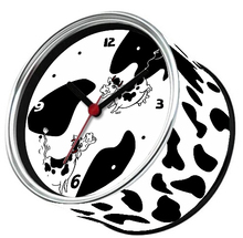 By ePacket Digital Metal Table Clocks Desktop Tin Round Clocks Magnetic in Kitchen Wall Clocks White Cow Design