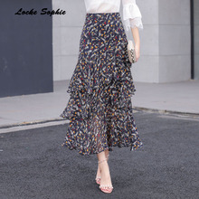 1pcs Hight waist skirts Womens Plus size Long 2019 Autumn New Fashion Chiffon Floral lotus leaf skirt Ladies girls
