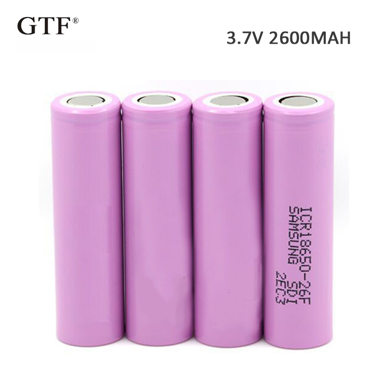 4pcs 3.7V 2600mAh 18650 Battery 100% Original For Samsung 26F Rechargeable Li-ion Battery Real Capacity ICR18650 Batteries image