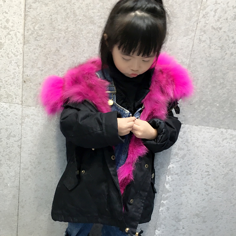 JKP 2018 Real Big Raccoon Fur Collar Coat Leather Fox Fur Coat Winter Coat Natural Fox Leather Lining children Jacket fur parka boys and girls rabbit fur lining jacket children big fox fur collar coat winter intensive warm jacket children fur collar coat
