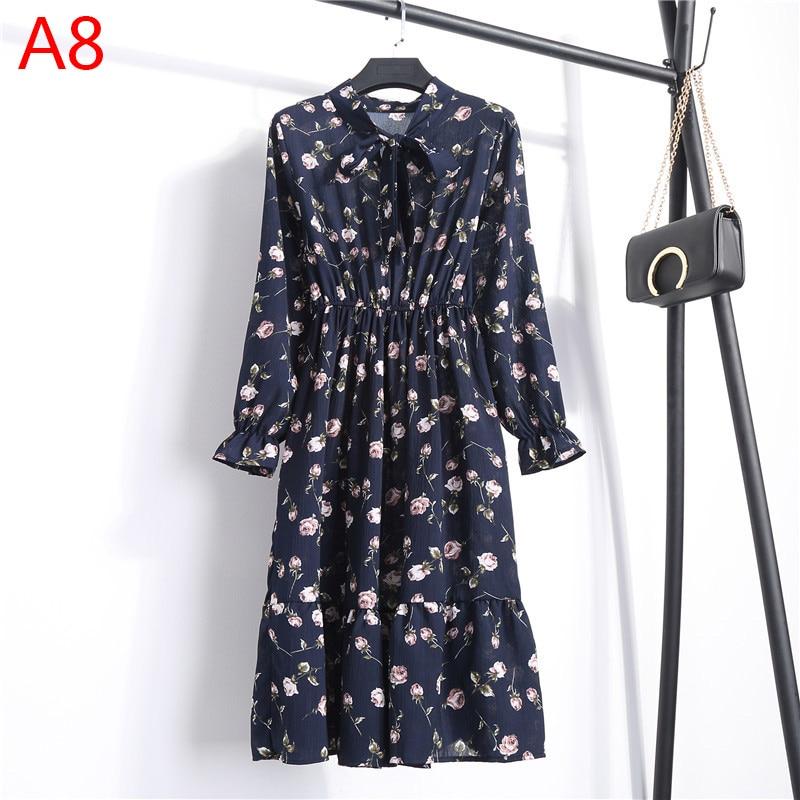 Korean Black Shirt Vestidos Office Polka Dot Vintage Autumn Dresses Women Winter Dress 19 Midi Floral Long Sleeve Dress Female 34