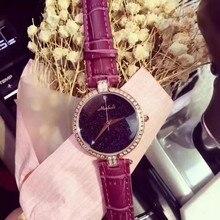 Luxury Brand Женщины Смотреть Кожаный Ремешок Полный Кристалл Алмаза Bling Аналоговые Кварцевые Дамы Наручные Часы Relojes Mujer 2016