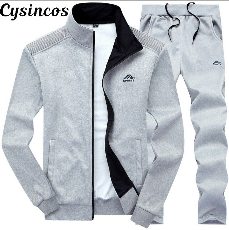 CYSINCOS Men Sets Fashion Autumn Spring Sporting Suit Sweatshirt +Sweatpants Mens Clothing 2 Pieces Sets Slim Tracksuit Hoodies