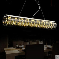 LED Creative Art Bar Bar Restaurant Dining Room Table Rectangular Glass Crystal Chandeliers 9