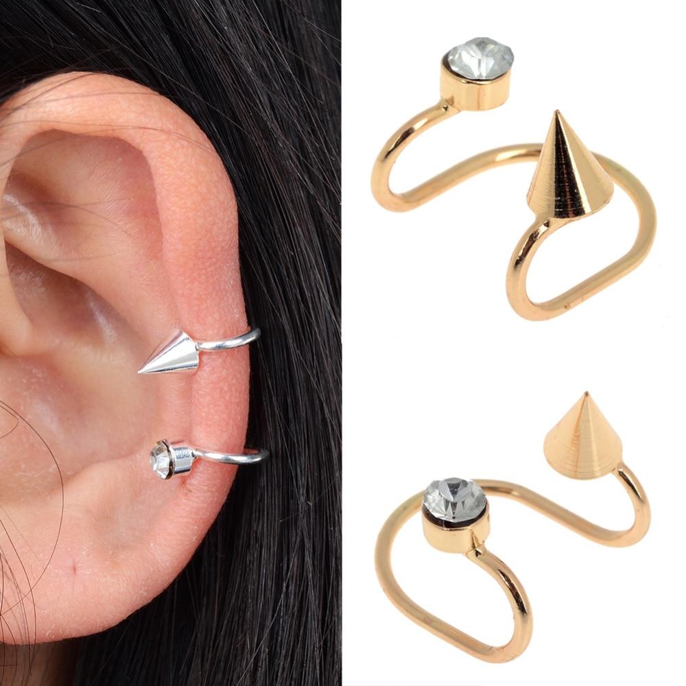 1pc Chic Women Crystal Rivet Ear Cuff No Piercing Cartilage Earrings Spike  Ear Clips Gold Silver