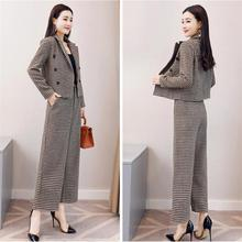 High quality work fashion trousers set 2 piece lattice suit jacket & wide leg pants women's suits women's clothing 2018