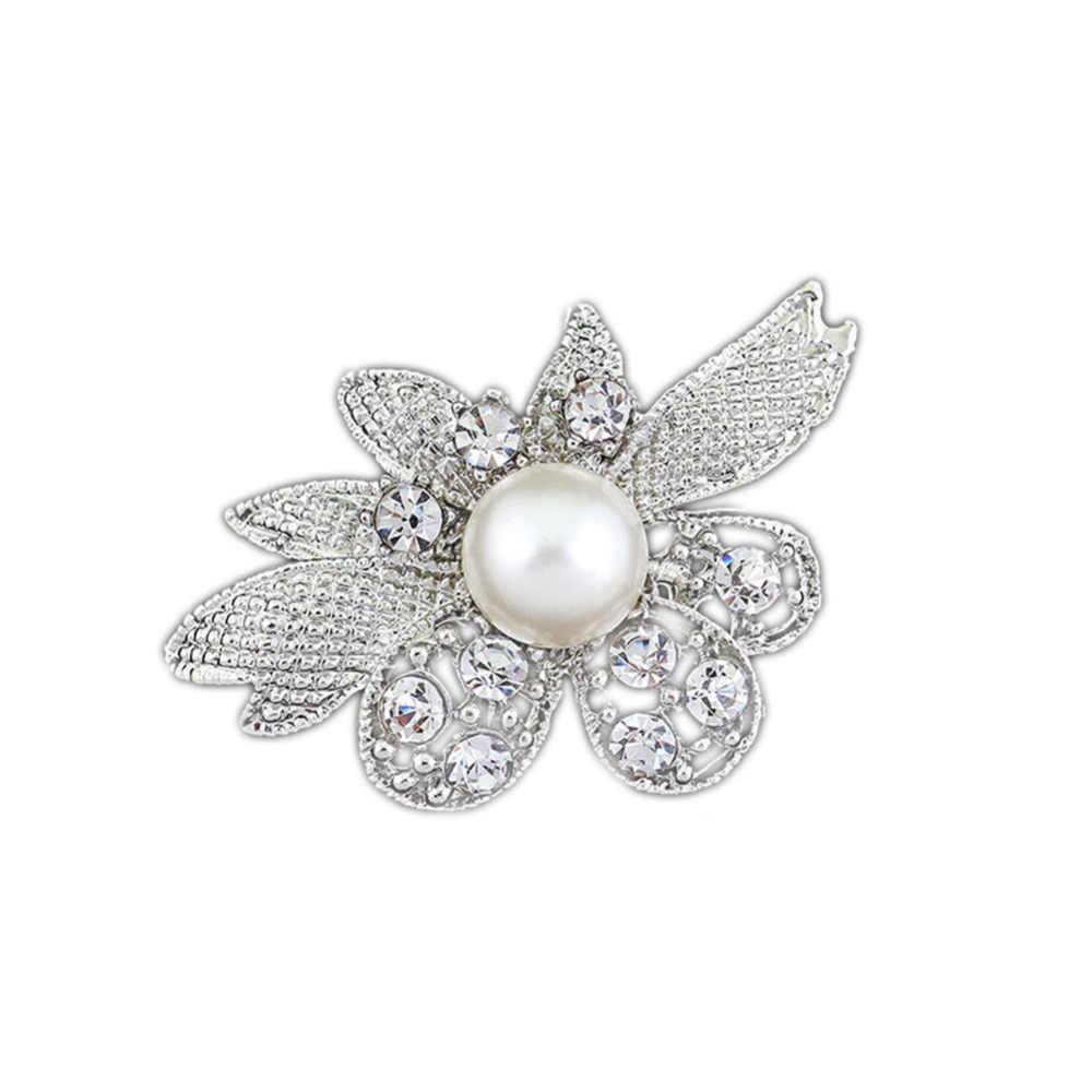 Perempuan Dasar Kristal Pearl Bunga Bros Untuk Pesta Pernikahan Gaun Elegan Warna Silver Bros Pin Hadiah