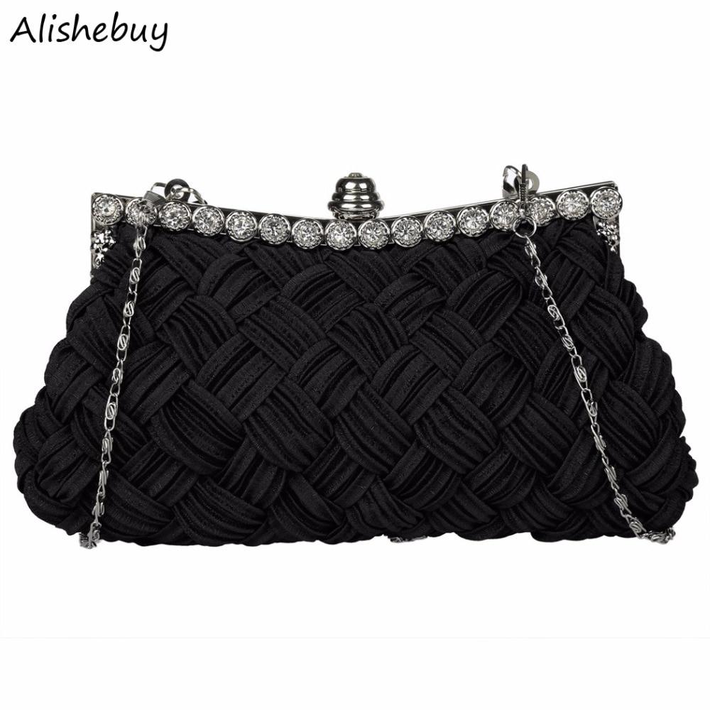 Honest New Wedding Womens Evening Bag Rhinestone Handbag Kniting Wallets Shoulder Bag Crystal Black Red Clutch Bag With Chain Sv013130 Women's Bags