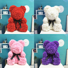 Valentine's Romantice Artificial Rose Bear PE Rose Gift For Wedding Party Creative DIY Valentine Gift PE Rose Doll Decoration