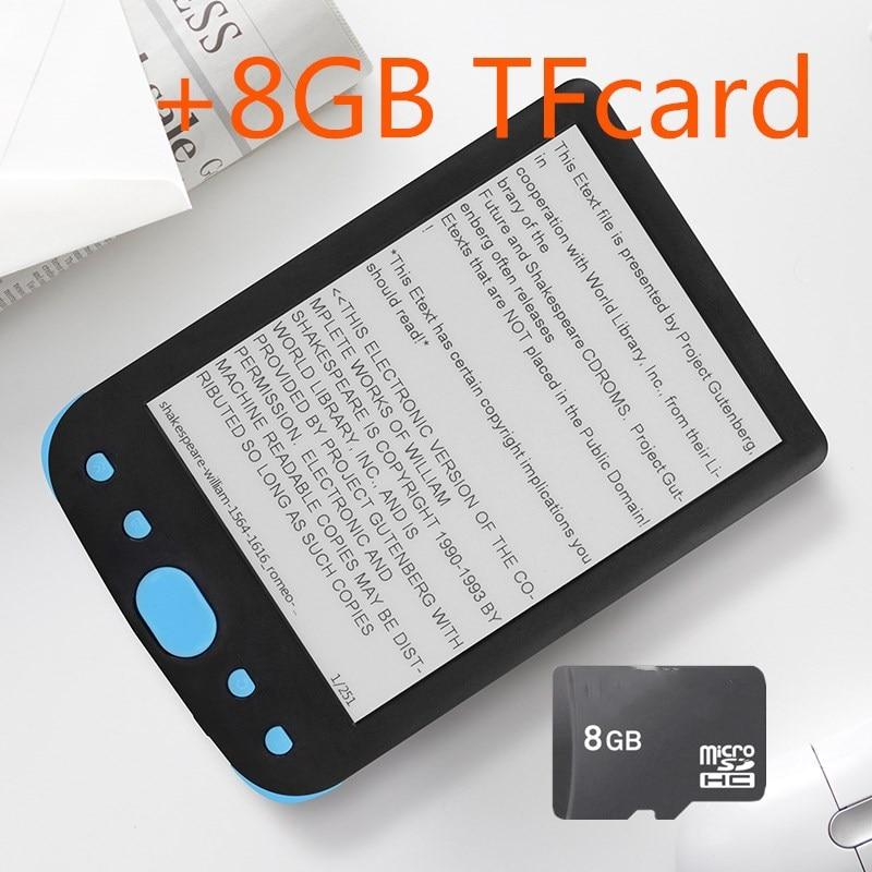 "6"" eink E-book+8G TF card e-ink Display 6 inch Ebook Reader Electronic e book Gray Ereader 800x600 Resolution Display 300DPI"