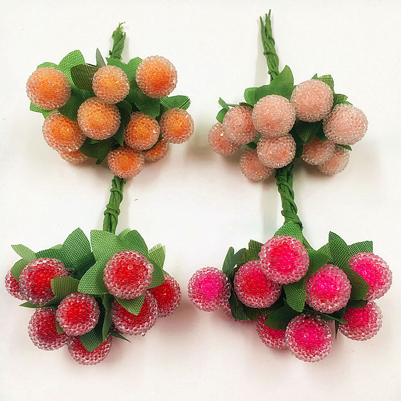 10 PCS 1 cm a small berries artificial flowers pomegranate red cherry stamens wedding simulation glass Christmas decorations in Artificial Dried Flowers from Home Garden