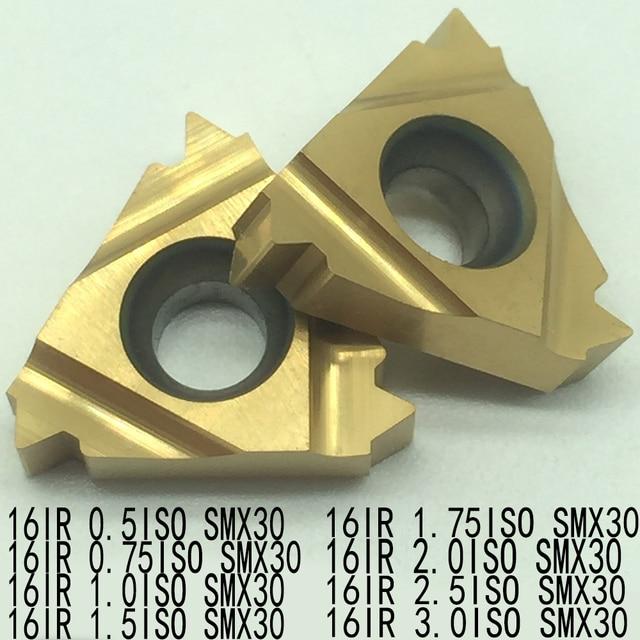 10pcs 16IR 0.5 0.75 1.0 1.5 1.75 2.0 2.5 3.0ISO SMX30 Carbide Insert For Threading Turning Tool Boring BAR blade