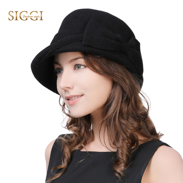 2f57d195806b5 Fancet Women Beret Cloche Felt Hat female Bonia Winter Wool Bucket Bowler  Hats Autumn 1920s Vintage Bowknot Fashion Female 16209