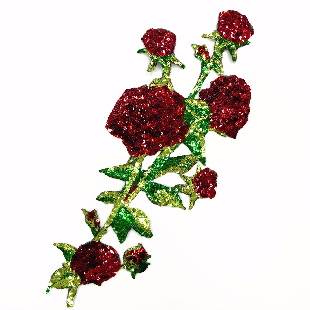 Roses sequins embroidered patch vintage flower fabric for Applique decoration