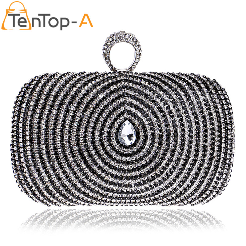 TenTop-A New Design Gem Diamonds Paisley Finger Ring Evening Bags Bolsa Female Luxury Bridal Wedding Party Clutch Bag Purse