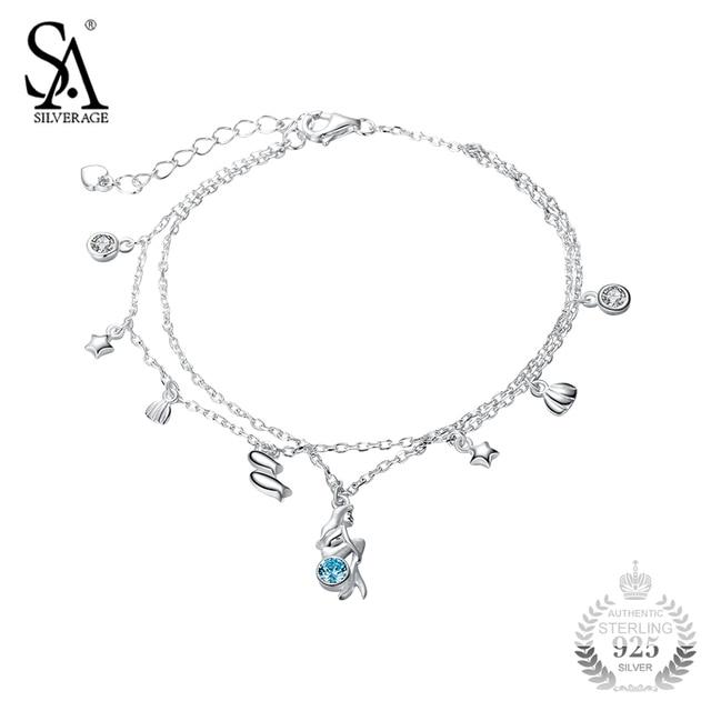 0683c62ea4a2 Sa silverage pulsera plata Pulsera del encanto de la sirena mar estilo de diseño  para las