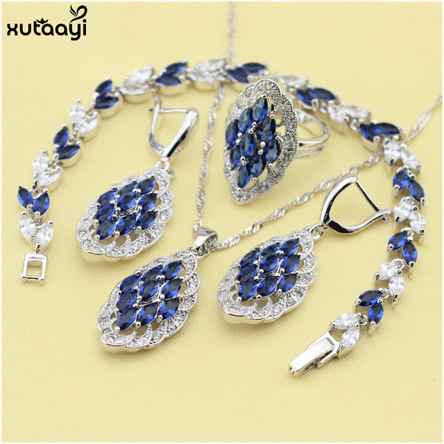 XUTAAYI Top Quality 925 Silver Overlay Jewelry Sets Blue Synthetic Sapphire Pendant/Necklace Chain/Rings/Earrings/Bracelet