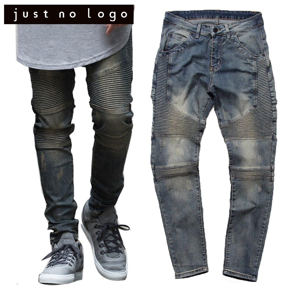 Vintage Men's Tapered Stretch Biker/Moto Denim Distressed Ripped Jumpsuit Designer Jeans Slim Skinny Straight for Men Punk Pants