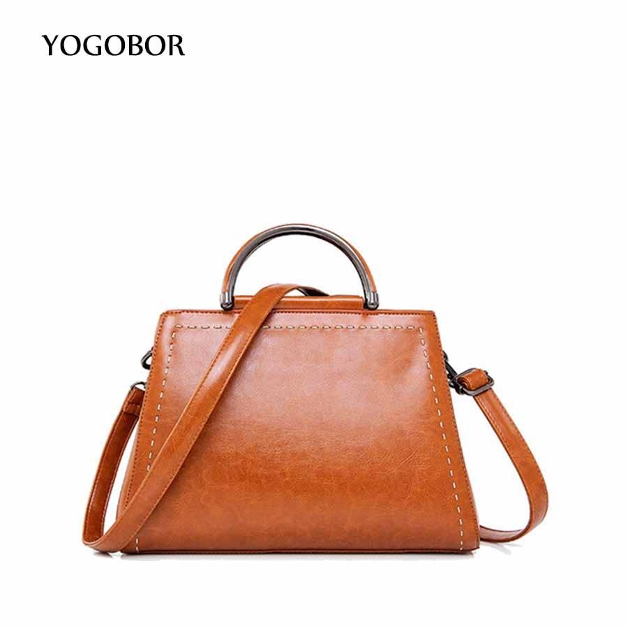 ФОТО YOGOBOR brand women handbag with two strap high quality PU leather tote bag retro shoulder messenger bags black/pink/blue/brown