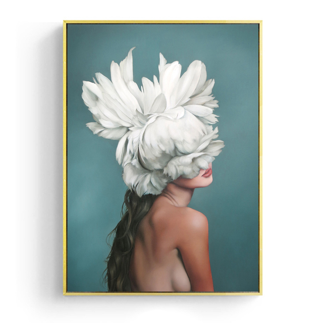 Modern Posters and Prints Flowers Feather Women Wall Art 1
