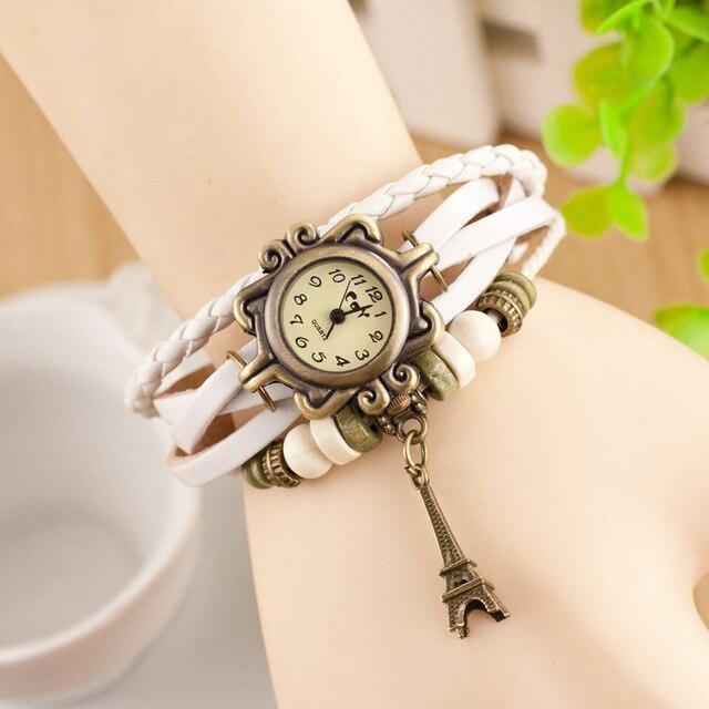 CAY Fashion Bracelet Watch Women Effiel Tower Pendant Vintage Digital Geneva Leather Quartz Wristwatches Woman Relogio Feminino