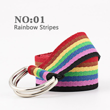 For Women Fashion Harajuku Belt Red with Canvas Letters Fashionable Unisex Double Ring Female Long Design Origina for Jeans