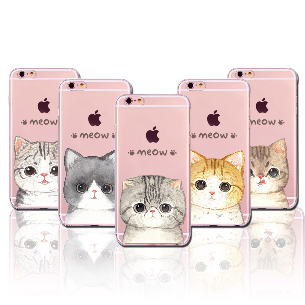 cartoon cute lovely cat paitned for iphone 6 6s 5 5s se 4 4s clear soft silicon back cover case. Black Bedroom Furniture Sets. Home Design Ideas