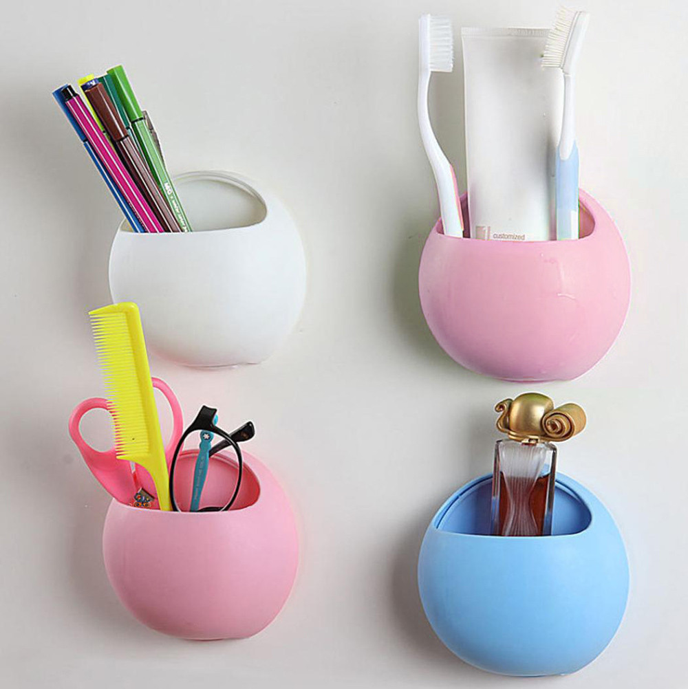 Cute Kids Toothbrush Toothpaste Holder Wall Mounted Suction Cup Bathroom Decor Organizer Cup Rackin the bottom