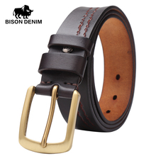 BISON DENIM 2016 Top Cow genuine leather belts Vintage strap male pin buckle belt men masculino W71028