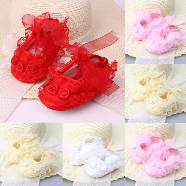 Newborn Baby Girl Shoes Princess Party Lace Floral Soft Sole Crib Shoes Anti-slip Sneaker Prewalker Toddler Kid 0-12M 5