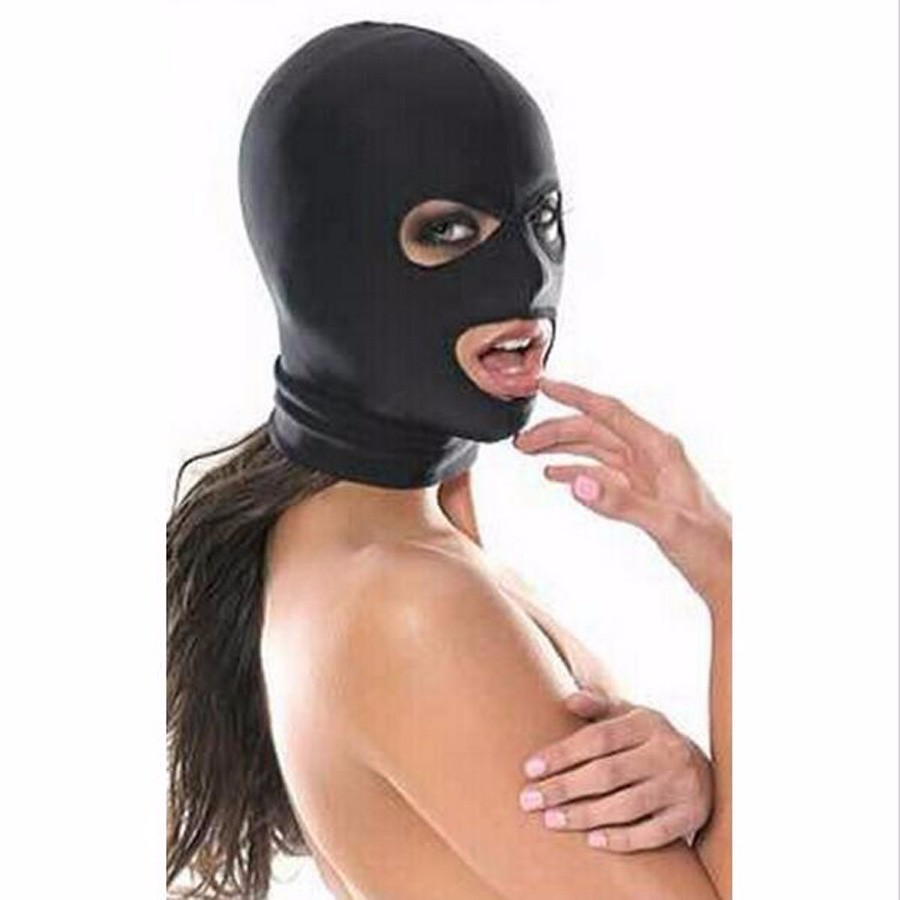 Fetish Fantasy Lightweight adult bondage strong elastic spandex mask hood with open eyes and mouth holes