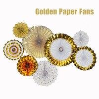Lüks Altın Set 8 adet Kalın Kağıt Fan Düğün Nişan Parti Asılı Kağıt Dekor Çocuklar Doğum Günü Dekoratif Altın Kağıt El Sanatları