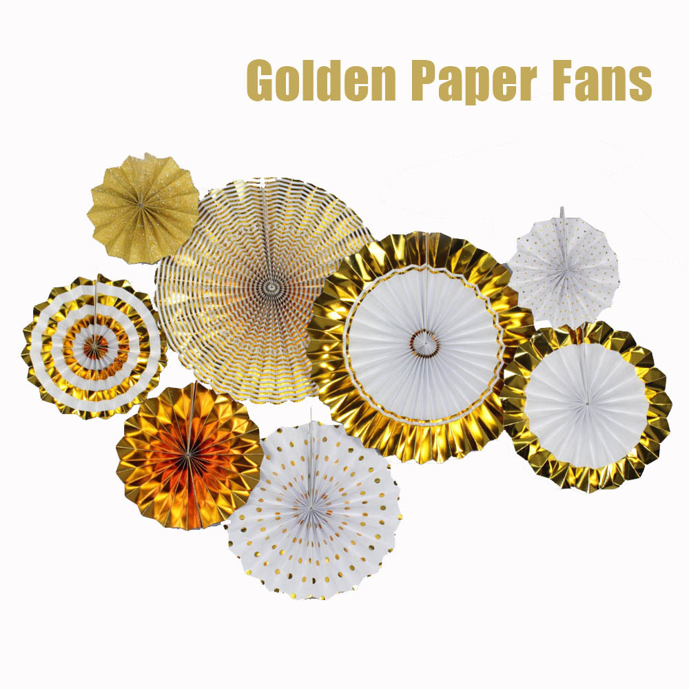 Luxury Gold Set 8pcs Thick Paper Fan Wedding Engagement Party Hanging Paper Decor Kids Birthday Decorative Golden Paper Crafts