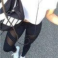 2016 Sportwear Gimnasio Polainas de Las Mujeres de Cintura Alta Sexy Hilo Patchwork Flacos de Las Polainas Pantalones pantalones de Fitness