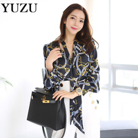 Plus Size Blouse Women 2017 Autumn Tie Lace Long Sleeve Floral Printed Shirt Office Lady Blue
