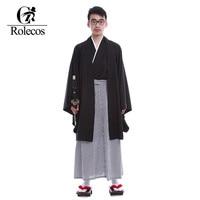 Rolecos Japanese Kimonos Men Traditional Clothing Samurai A Ninja Gongfu Cosplay Costume Vintage Long Kimono Suit