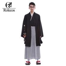 Rolecos Brand Japanese Kimonos Men Traditional Clothing Samurai A ninja Gongfu Cosplay Costume Vintage Long Kimono Sets