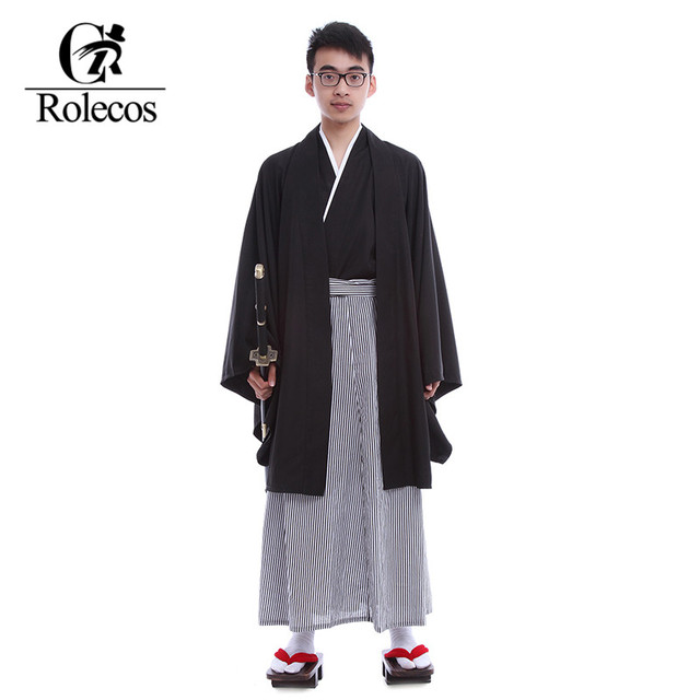 Rolecos Brand Japanese Kimonos Men Traditional Clothing Samurai A Ninja Gongfu Cosplay Costume Vintage Long Kimono