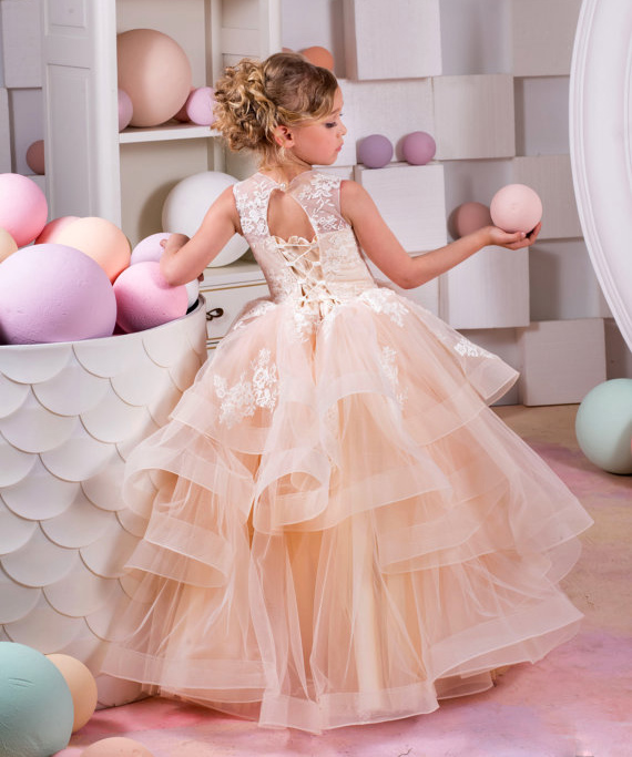 085bc26f9 Gorgeous champagne ball gown puffy tulle flower girl dresses lace appliqued  ruffles tiered holy first communion