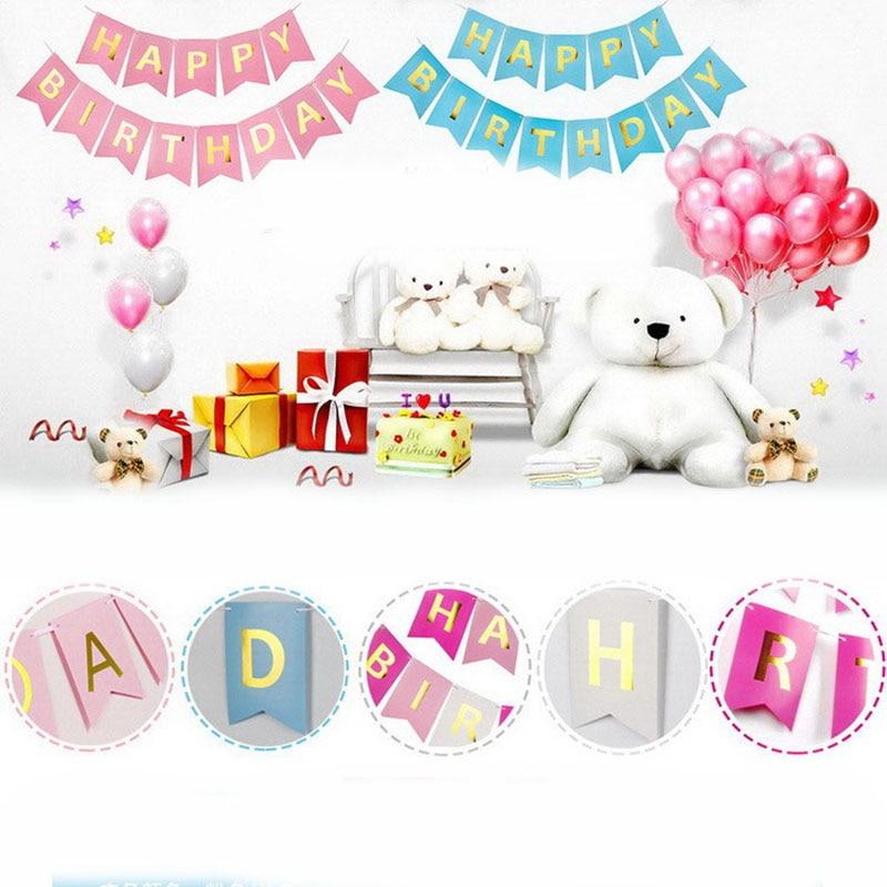 1SET Glitter Gold Letter Happy Birthday Banner Craft Pompom Paper Tassel Garland Birthday Decoration Boy Girl Kids Party Favors