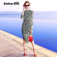 Dress party evening elegant lady casual fashion print floral lady loose plus size women summer green silk beach dress S 3XL