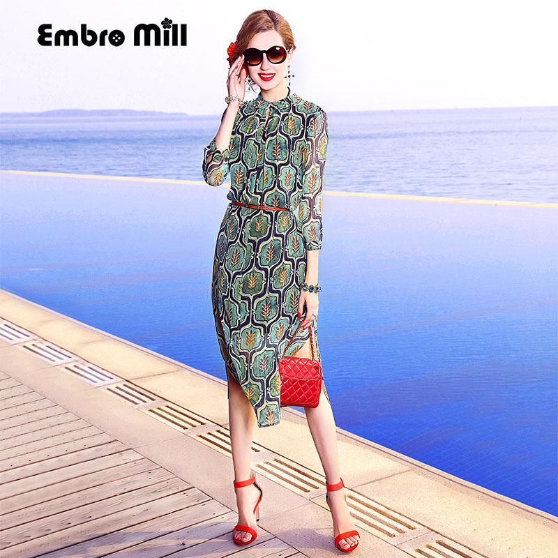 Embro Mill Dress elegant lady casual fashion print floral lady loose plus size women summer green silk holiday beach dress S-3XL image