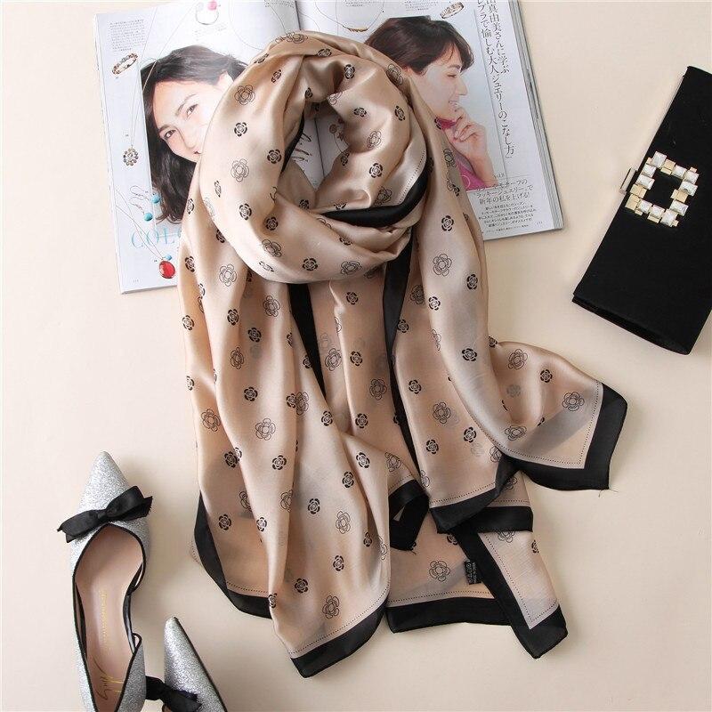Summer Fashion Women's Scarf Hot Sale Small Flower Silk Scarves Shawl Wraps Female 100% Silk Scarf Long Bandanas Foulards
