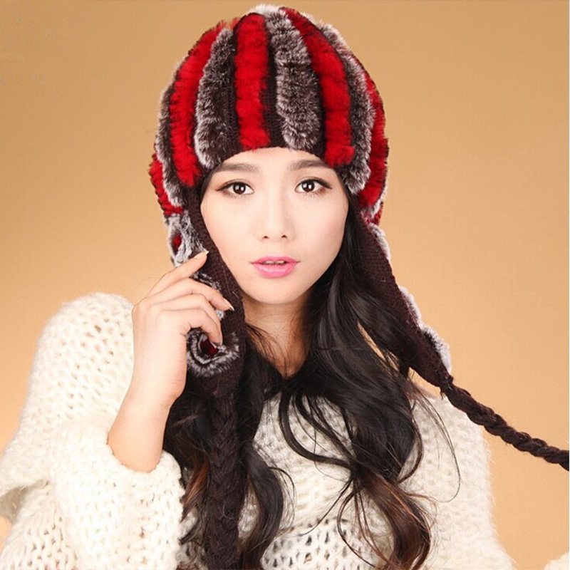 REX Rabbit Fur Hat for Women Knitted Striped Cap 2015 New Fashion Sweet Peaked High Elasticity Women's Hats Ladies Caps
