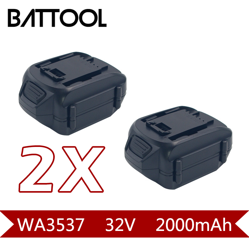 2X 2000mAh 32V Li-ion WA3537 Rechargeable Batteryn For WORX WG175, WG575, WG575.1 & WG924 2packs 2000mah 12v li ion wa3503 rechargeable battery for worx wu127 wu151 wx6777 wx3827 wx125wx125 6 wx125 7 wx125 m wx126