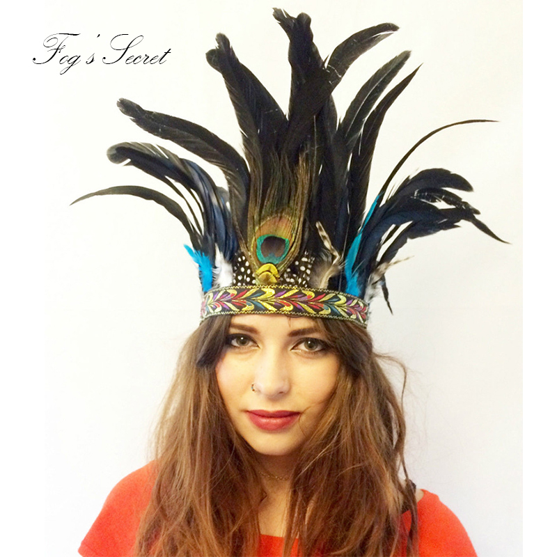 European vintage Indian peacock feather headdress Bohemian national wind party dance show hair band For Women Girl