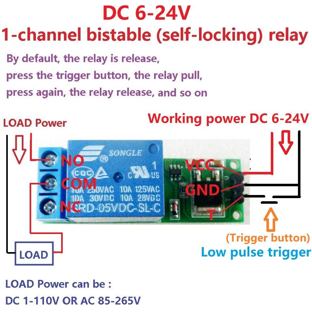 Eletechsup 2X DC 6V 9V 12V 24V Flip-Flop Latch Relay Module Bistable Self-locking
